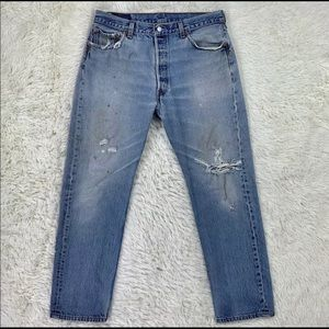 Men's Distressed Button Fly Levi's 501 Jeans